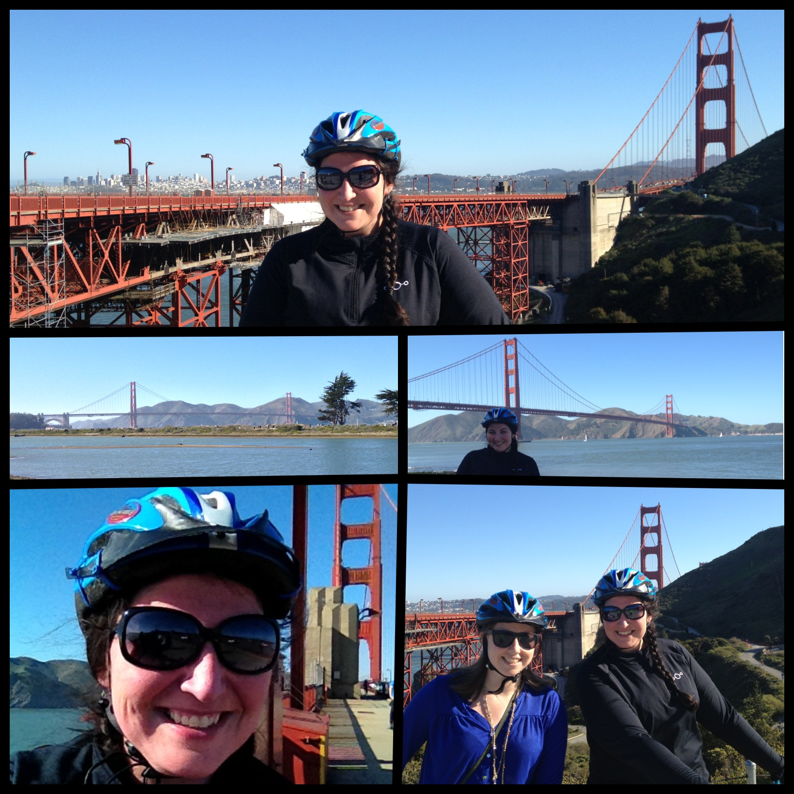 golden gate bridge biking collage